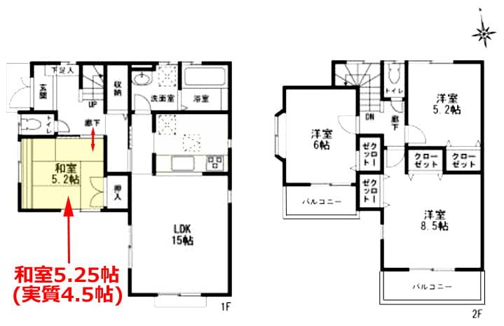 リフォーム前の間取り図に1F和室を図示した図面画像
