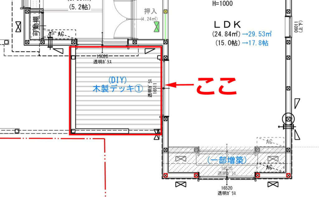 リフォーム案: 1F木製デッキ増設予定の位置を示した図面画像