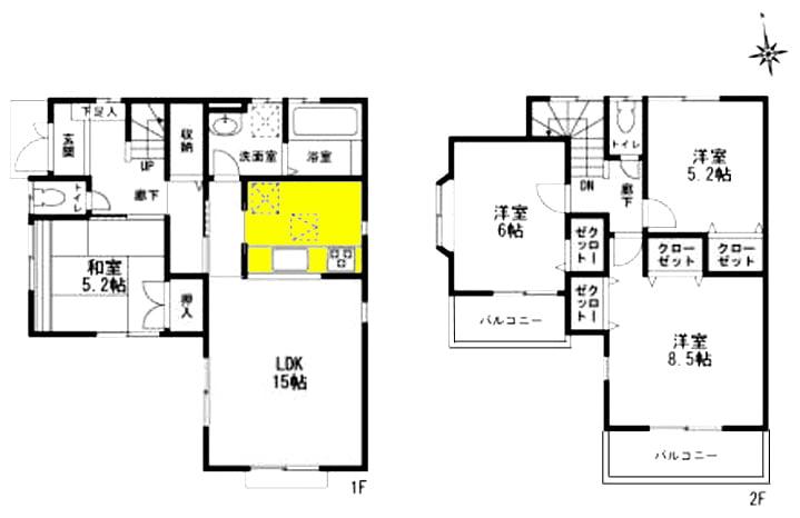 キッチンの位置を黄色で着色した間取り図