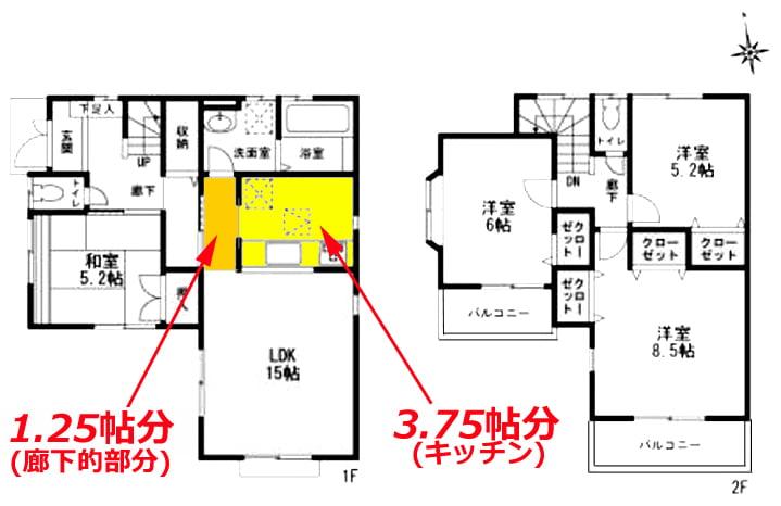 キッチンと廊下的な部分の範囲と帖数を示した図面画像