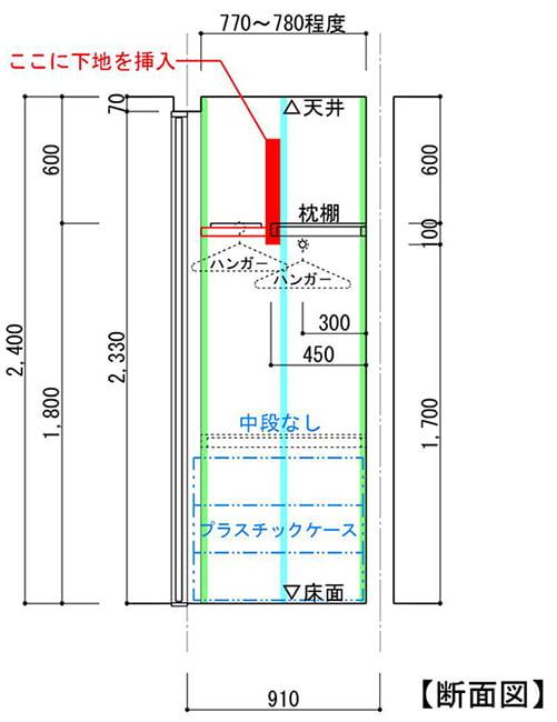 収納スペースの断面図に入れようとしている壁下地の位置を図示しているスケッチ画像