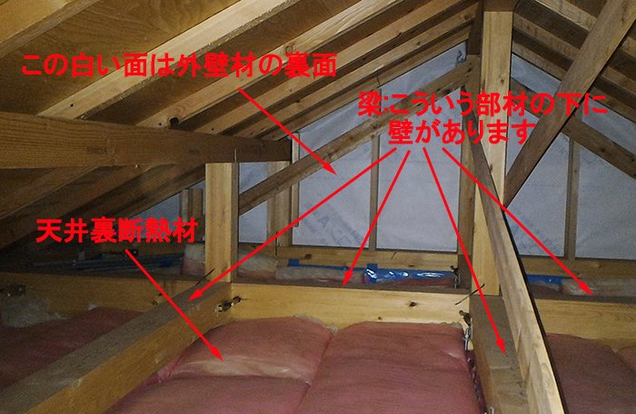 天井裏空間の簡単な解説画像(コメントを入れた写真画像)