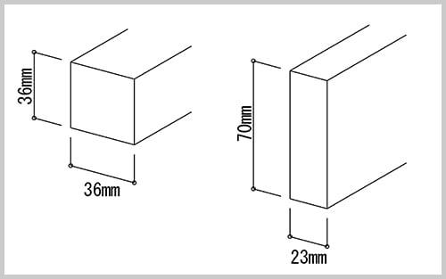 断面イメージ:床補強に使用する材料36×36と23×70を示したスケッチ画像
