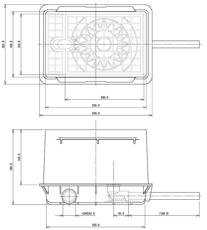 カクダイさんの散水栓ボックス626-100の図面画像(一部抜粋)