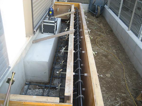 増築部分の基礎型枠の写真画像(リビングへのプチ増築に係る工事写真2)