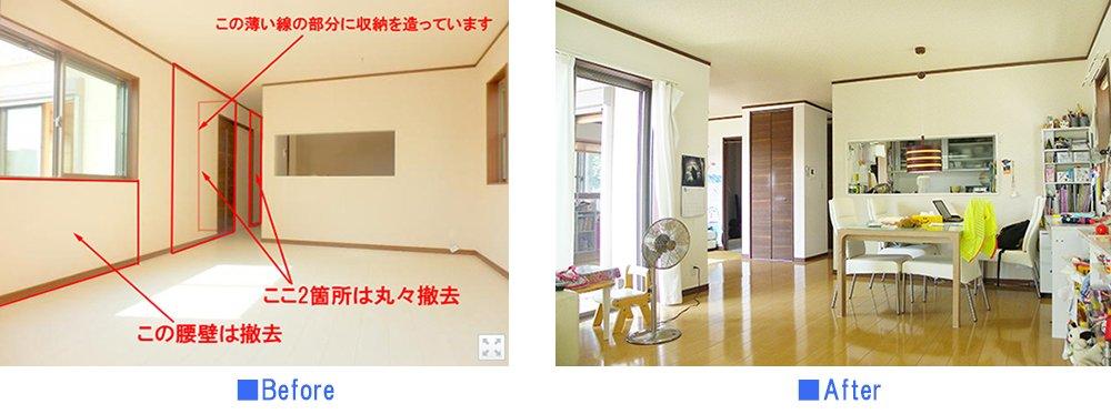 リビングと和室をぶち抜いてつなげるリフォームのビフォーアフター写真画像(解説コメント入り)