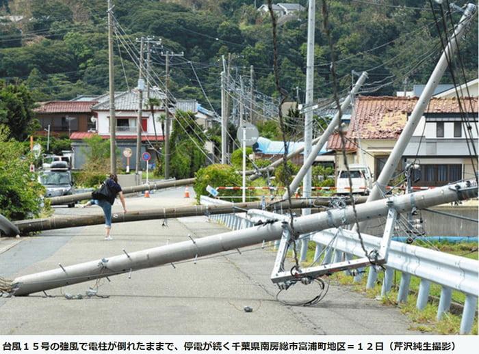中日新聞さんからの引用させていただいている電柱倒壊(南房総市)の様子の写真画像