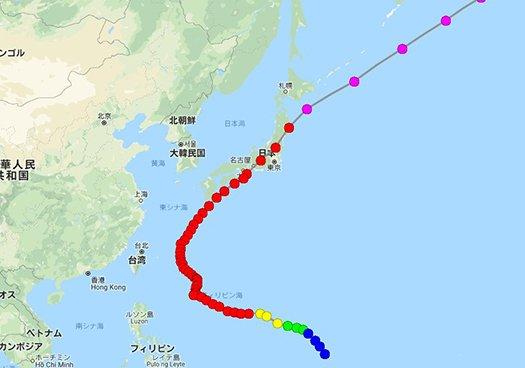 デジタル台風さんから引用:2018年台風24号の経路図