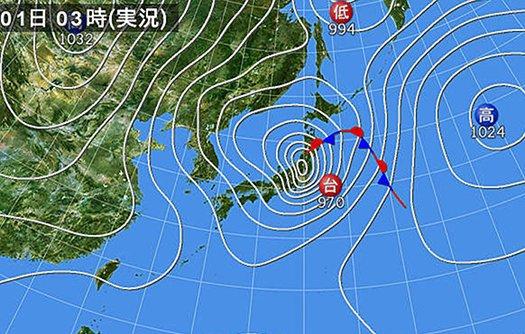 挿絵:24号が首都圏を通過したころの天気図