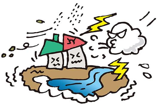 台風に傷められている建物をイメージする挿絵