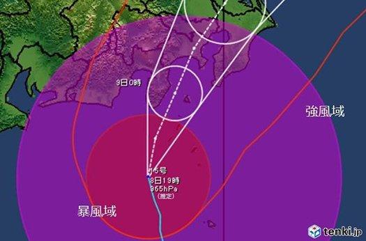 本州に接近している2019年台風15号の経路と暴風域と強風域の範囲を示したイラスト画像