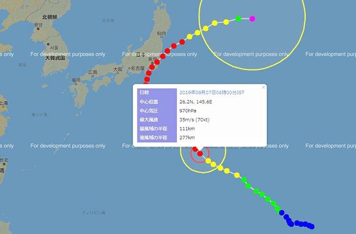2019年台風15号の9/7、AM6:00の経路&規模情報の画像