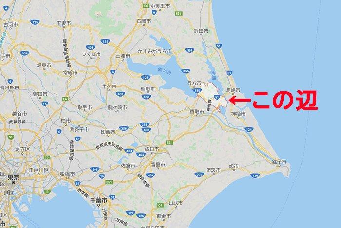 事故現場に当たる「茨城県潮来市延方」の地図上の位置を示した地図画像