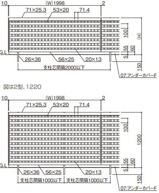 四国化成さんカタログページから引用した アルディフェンス2型の解説画像2(本体図面画像)