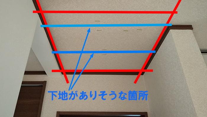 下地がありそうな位置を書き込んだ写真画像 ※天井点検口を開ける(天井へ点検口を作る)準備作業の天井下地の読み方解説画像4