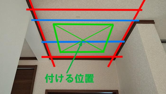 決定した天井点検口の取り付け位置を図示した写真画像 ※天井点検口を開ける(天井へ点検口を作る)準備作業の天井下地の読み方解説画像5