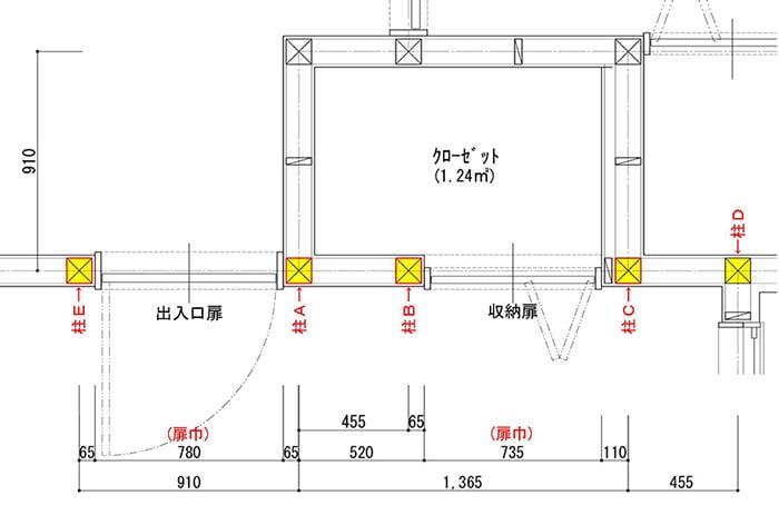 壁の下地位置解説用の平面スケッチ画像(洋室B) ※巾木の外し方(巾木の剥がし方)解説用スケッチ画像2