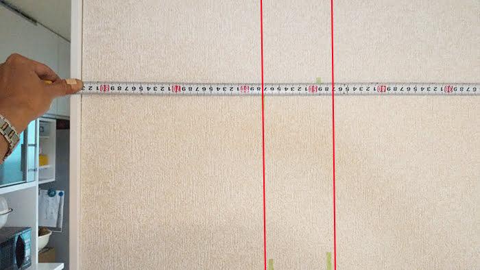 前々写真の左側の拡大画像に柱の輪郭を落とした画像(下地センサー精度検証解説用5)