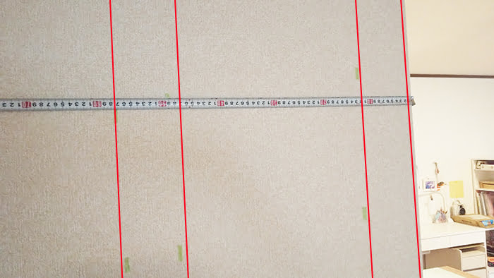 前写真に柱の輪郭を追加した写真画像(下地センサー精度検証解説用3)
