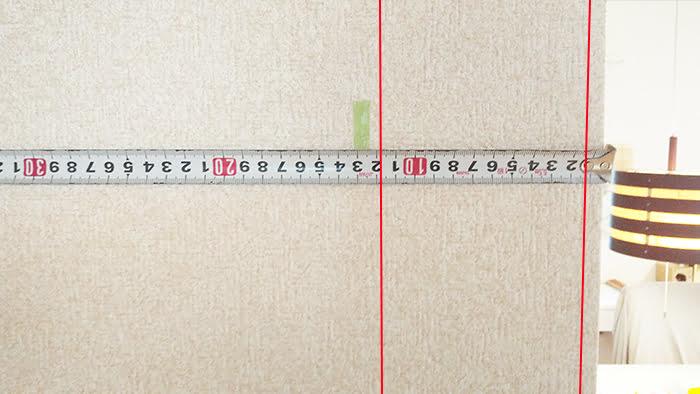 前写真の右側の拡大画像に柱の輪郭を落とした画像(下地センサー精度検証解説用4)