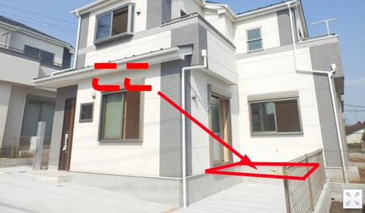 1F木製デッキ増設予定の位置を示した写真画像