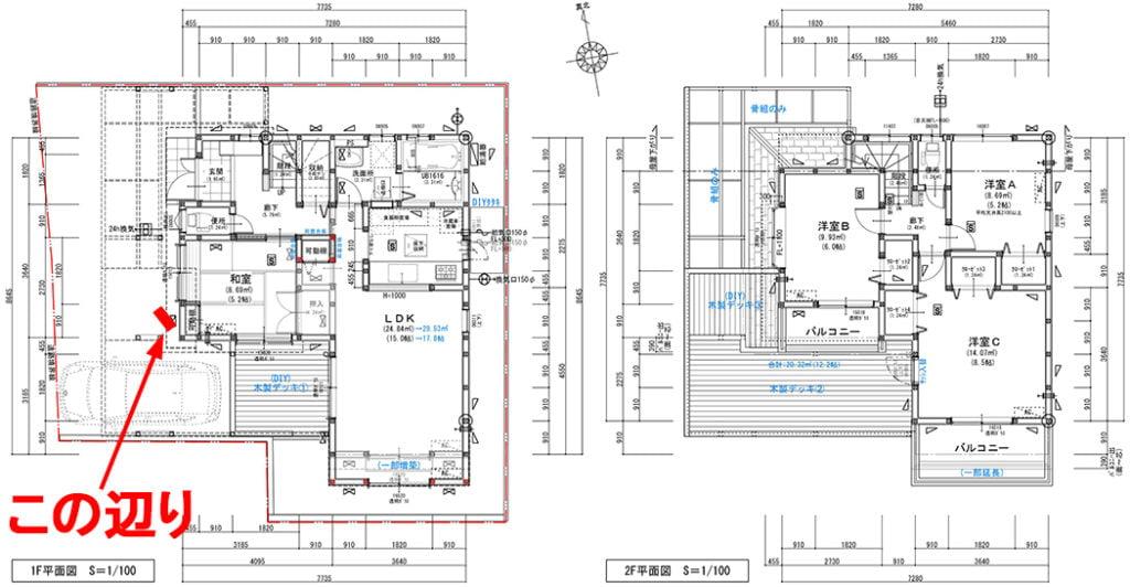 筆者の建売マイホームの当初リフォーム図面に、コンクリートへのビス止め(ビス打ち、ねじ止め)によるラック設置個所を図示したスケッチ画像