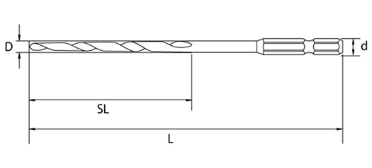 スターエムさんサイトから引用:下穴ドリル(下穴錐)ビット一般木工用75B-SA外観が図示された図面 ※筆者のおすすめ下穴ドリル(下穴錐)例1の詳細解説用画像1