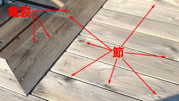 例として2Fウッドデッキの節や亀裂を撮影した写真画像