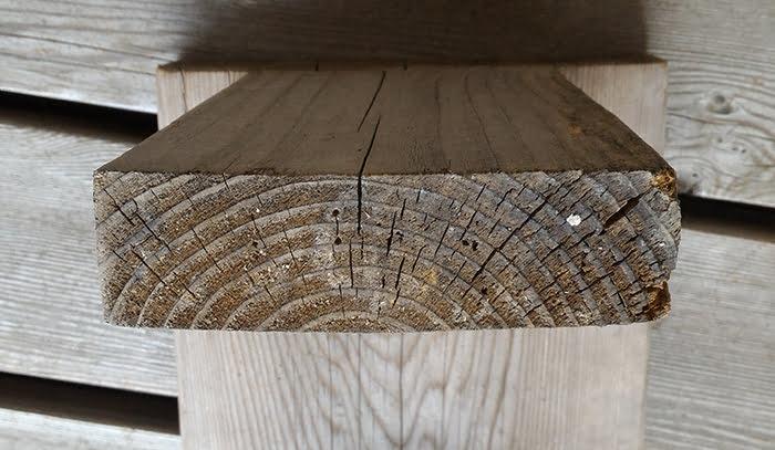 梅雨明け後14日ほど経過した、1Fウッドデッキに置いてある椅子(ベンチ)の脚の裏の、カビと思われる綿毛が発見された部分の様子を撮影した写真画像