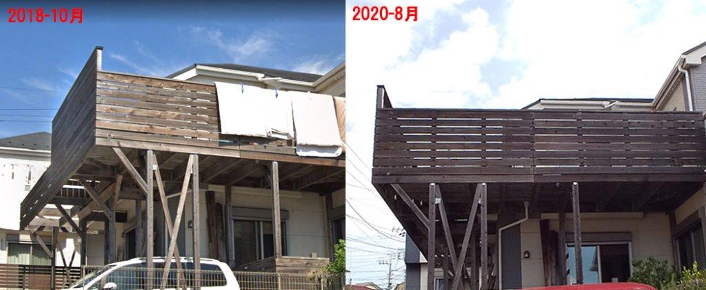 ウッドロングエコの経年変化③:南面の比較(2018年10月/2020年8月) ※ウッドロングエコの経年変化[見ため]ビフォ-アフタ-3
