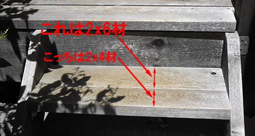 継ぎハギの後付けのウッドデッキ階段(後付けウッドデッキステップ)の踏板を撮影した写真画像