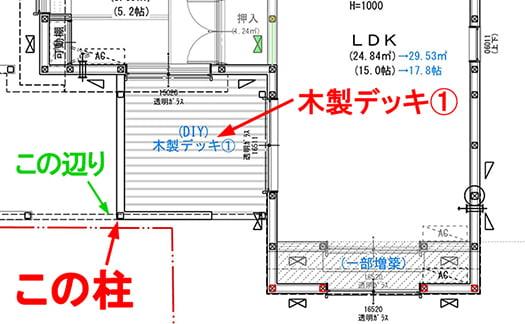シロアリ発生個所と(シロアリ殺虫剤ではない)キンチョールを掛けてみる(DIYシロアリ駆除を行う)位置を図示した解説用スケッチ画像