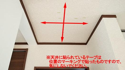 天井面の走査イメージを天井写真に書き込んだ写真画像