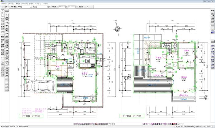 初心者用の入門編CADとしておすすめしているWindows版 JW-CADの編集画面を撮影したスクリーンショット