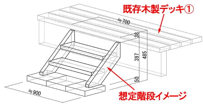 作ろうとしている後付けのウッドデッキ階段(後付けウッドデッキステップ)の外形イメージスケッチ ※筆者の制作当時のモノ