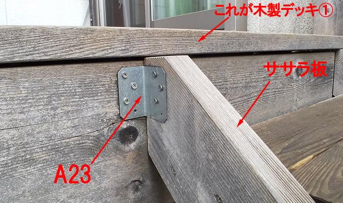 ウッドデッキ階段のササラ板の本体への固定の様子を撮影した写真画像(コメント入り) ※後付けのウッドデッキ階段(後付けウッドデッキステップ)DIYによる作り方解説写真3