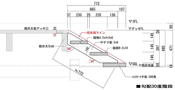 参考図:後付けのウッドデッキ階段(後付けウッドデッキステップ)の断面スケッチ2(30度)スケッチ画像
