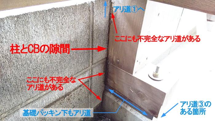 柱の裏側(東面)の様子を撮影した解説コメント入り写真画像 ※シロアリの巣の見直し分析&検証画像4