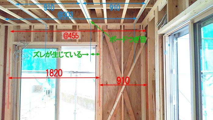 壁・天井下地モジュールのズレの解説を書き込んだ写真画像