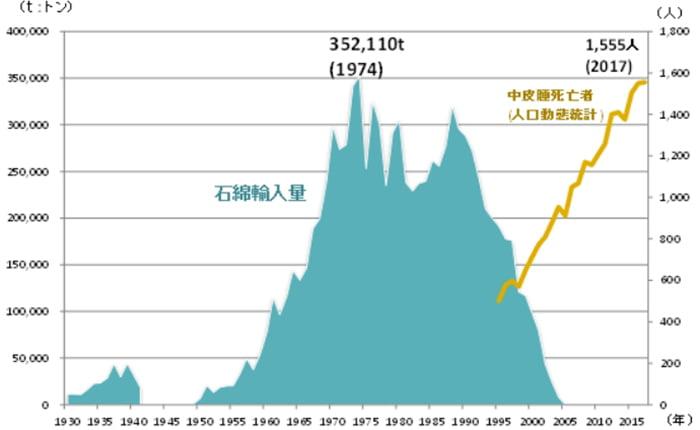 アスベストの輸入量と中皮腫による死亡者数を示したグラフ画像:環境再生保全機構さんというサイトからスクリーンショットにより引用