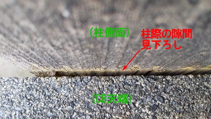 シロアリ被害箇所廻り:CBと柱の隙間の見下ろし写真画像