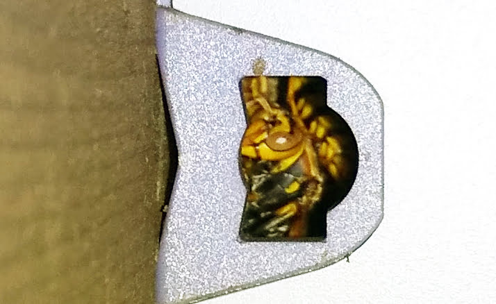 防犯灯の左の穴のアシナガバチの様子を撮影した写真画像の拡大