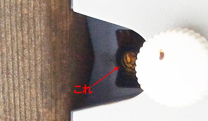 防犯灯の下の穴から見えている何かの臀部を撮影した写真画像