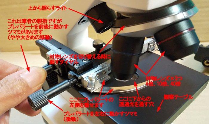maxlapterの顕微鏡 2000倍「WR851-2」左前からの近景:対物レンズ回り~観察テーブルを撮影した写真画像