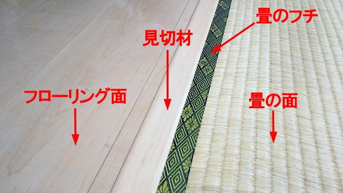 畳の外し方(剥がし方)、絡み解説の写真2:筆者の建売マイホームのフローリングと畳間に入れられた見切りを撮影した写真画像
