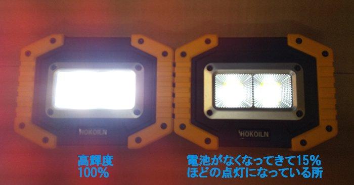 実際の点灯状況を撮影した写真画像:100%発光の光が強すぎて、ピントも合わせられない様子を撮影した写真画像