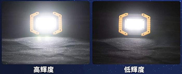 ショップさんの商品ページ画像から引用した高輝度モードと低輝度モードの発光の具合を比較撮影している写真画像