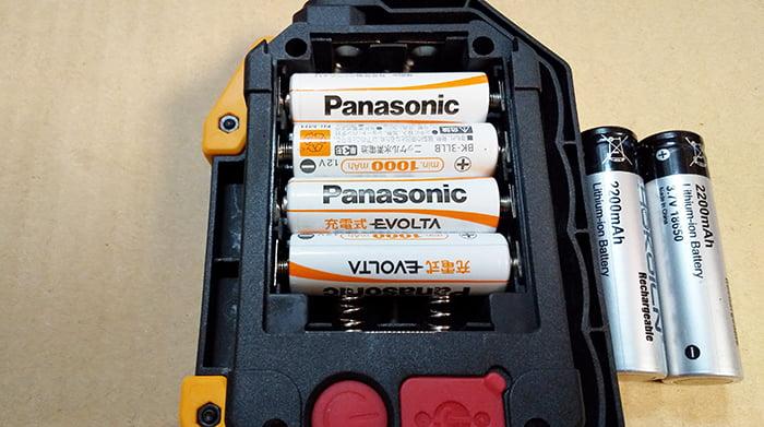 充電池EVOLTAを嵌めた状態の電池BOXを撮影した写真画像