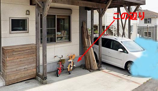 コンクリートへのビス止め(ビス打ち、ねじ止め)で自転車ラックを設置する箇所を図示した写真画像