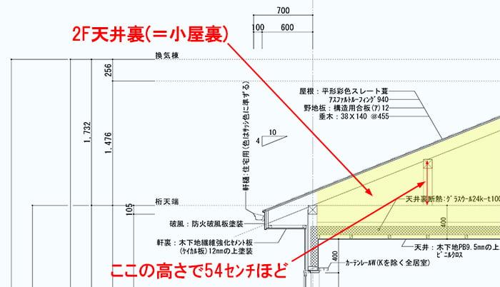 天井裏入り方解説注意事項:木造2F建て住宅の小屋裏例